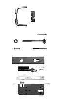 Aluminium deurklink met langschild, cilinderslot en duimen, t.b.v. deuren op stalen frame.