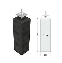 Betonpoer antraciet 15x15x60 cm met flexibele stelplaat M20