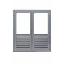 Hardhouten dubbele 1-ruits glasdeur Prestige met dubbelglas. 202 x 221 cm, grijs gegrond.