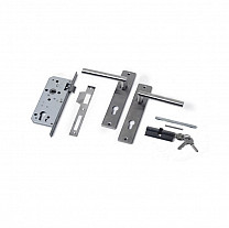 RVS luxe deurbeslagset SKG keurmerk met slotkast cilinder en slot.  incl. duimen.