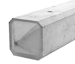 Betonpaal glad met diamantkop 10 x 10 x 190 cm, grijs ongecoat, tussenpaal t.b.v. scherm 90 cm hoog.