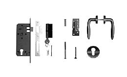 RVS deurklink met rozetten, cilinderslot en duimen t.b.v. deuren op stalen frame.