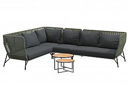 Altoro hoek loungeset groen met middendeel en Strada koffietafels teak rond