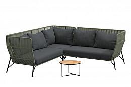 Altoro hoek loungeset groen met Strada koffietafel teak rond