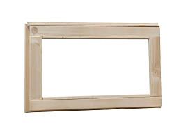 Vuren vast raam met helder glas. 72 x 45 cm, onbehandeld.